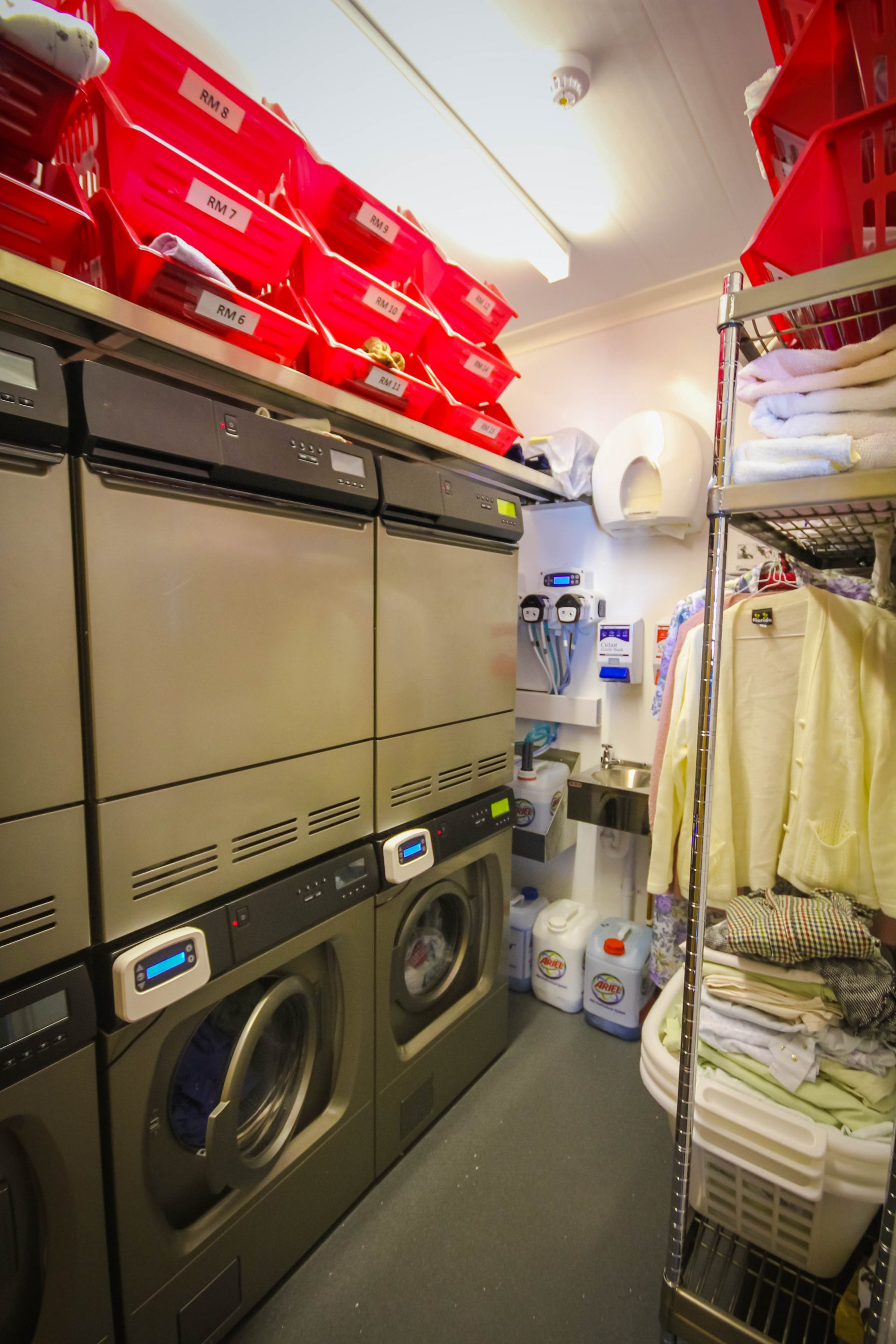 Well equipped laundry and utility areas